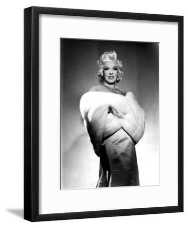 American Actress Mae West (1892-1980) with Fur Stole C. 1940--Framed Photo