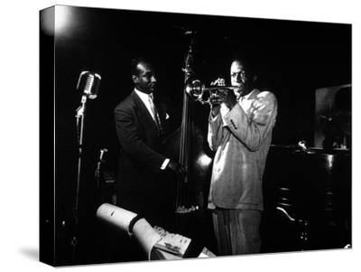 Miles Davis (C) with Oscar Pettiford and Bud Powell, Birdland, 1949--Stretched Canvas Print