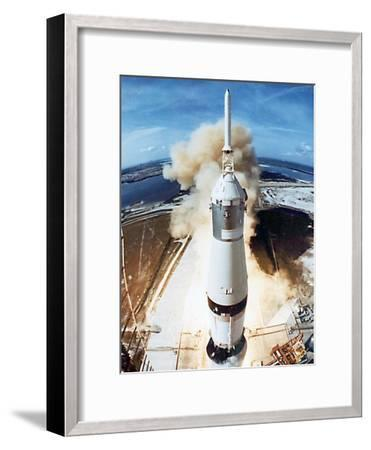 Lift Off of Apollo 11 Mission, with Neil Armstrong, Michael Collins, Edwin Buzz Aldrin, July 1969--Framed Photo