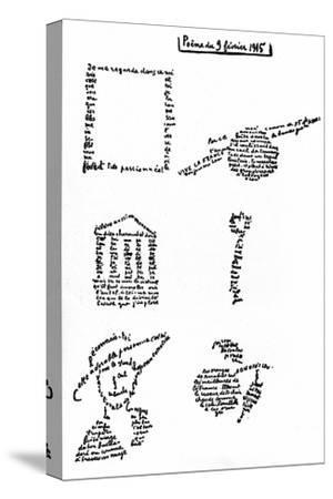 Calligram, Poem by Guillaume Apollinaire (1880-1918) February 9, 1915--Stretched Canvas Print