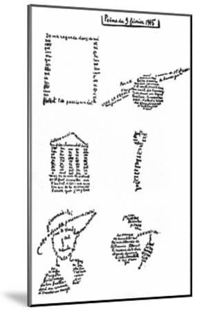Calligram, Poem by Guillaume Apollinaire (1880-1918) February 9, 1915--Mounted Art Print