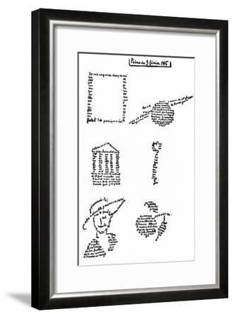 Calligram, Poem by Guillaume Apollinaire (1880-1918) February 9, 1915--Framed Art Print