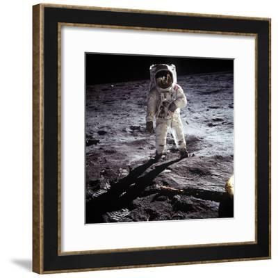 "1st Steps of Human on Moon: American Astronaut Edwin ""Buzz"" Aldrinwalking on the Moon--Framed Photo"