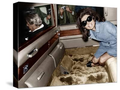 Jackie Kennedy Onassis Leaving London Airport, Aristotle Onassis Driving, 15th November 1968--Stretched Canvas Print