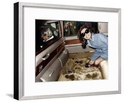 Jackie Kennedy Onassis Leaving London Airport, Aristotle Onassis Driving, 15th November 1968--Framed Photo