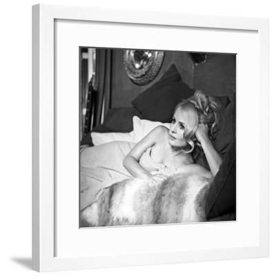 """French Actress Marie-France Boyer on the Set of the Film """"Sin with a Stranger"""" June 27, 1967--Framed Photo"""