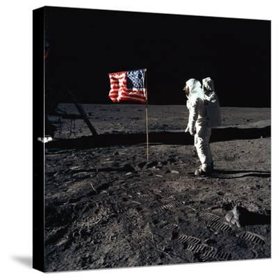 "American Astronaut Edwin ""Buzz"" Aldrin Walking on the Moon on July 20, 1969--Stretched Canvas Print"