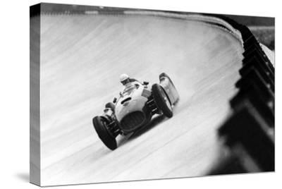 On Monza Circuit, Qualifying Round for Cars for the Grand Prix Which Take Place on Sept 2, 1955--Stretched Canvas Print