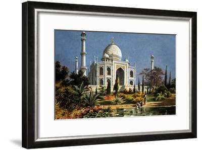 The Taj Mahal in Agra (India) Marble Mausoleum Built in 1632 - 1644--Framed Art Print