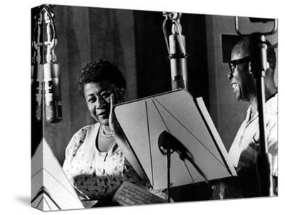 Ella Fitzgerald, American Jazz Singer with Louis Armstrong, Jazz Trumpet Player--Stretched Canvas Print