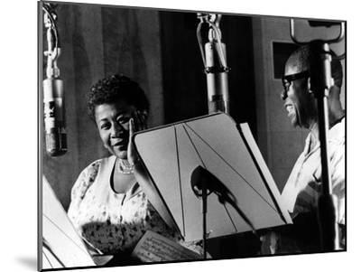 Ella Fitzgerald, American Jazz Singer with Louis Armstrong, Jazz Trumpet Player--Mounted Photo