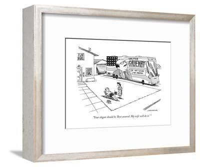 Woman speaks to husband as he lounges in a chair in the front yard. In the? - New Yorker Cartoon-Joe Dator-Framed Premium Giclee Print