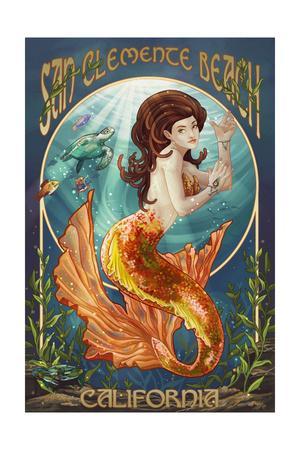 San Clemente Beach, California - Mermaid-Lantern Press-Framed Art Print
