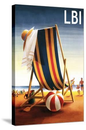 Long Beach Island - Beach Chair and Ball-Lantern Press-Stretched Canvas Print