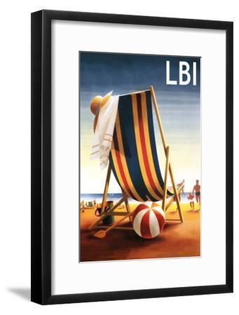 Long Beach Island - Beach Chair and Ball-Lantern Press-Framed Art Print