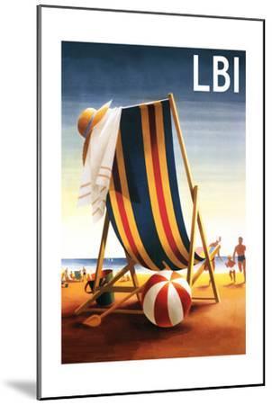 Long Beach Island - Beach Chair and Ball-Lantern Press-Mounted Art Print