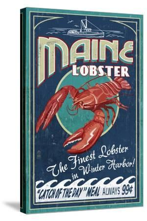 Winter Haven, Maine - Lobster Vintage Sign-Lantern Press-Stretched Canvas Print
