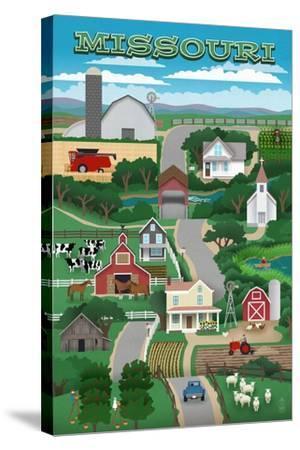 Missouri - Retro Style Countryside-Lantern Press-Stretched Canvas Print