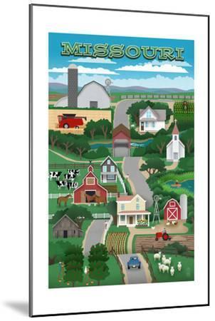 Missouri - Retro Style Countryside-Lantern Press-Mounted Art Print