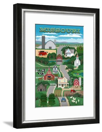 Missouri - Retro Style Countryside-Lantern Press-Framed Art Print