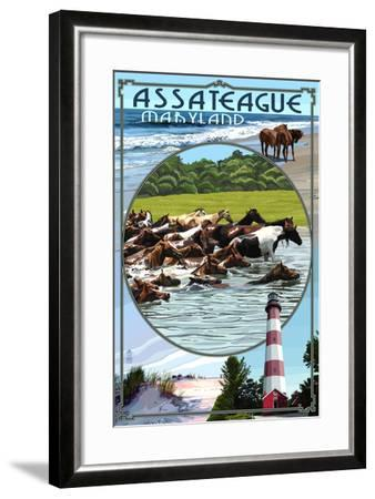 Assateague, Maryland - Montage-Lantern Press-Framed Art Print