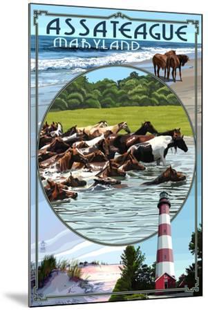 Assateague, Maryland - Montage-Lantern Press-Mounted Art Print