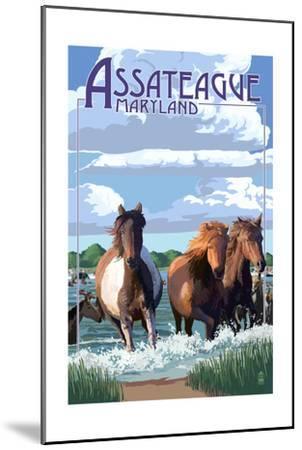 Assateague, Maryland - Pony Swim-Lantern Press-Mounted Art Print