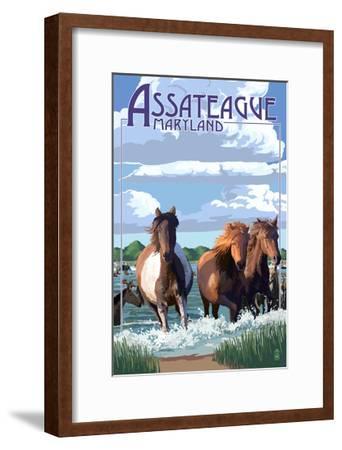 Assateague, Maryland - Pony Swim-Lantern Press-Framed Art Print