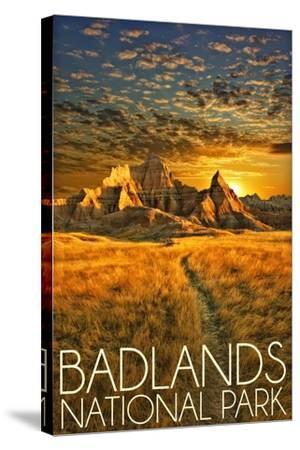 Badlands National Park, South Dakota Sunset-Lantern Press-Stretched Canvas Print
