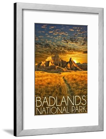 Badlands National Park, South Dakota Sunset-Lantern Press-Framed Art Print