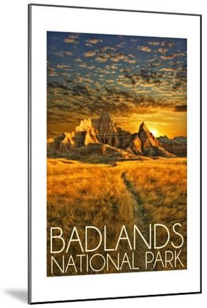 Badlands National Park, South Dakota Sunset-Lantern Press-Mounted Art Print