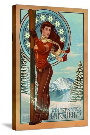 Wintergreen, Virginia - Art Nouveau Skier-Lantern Press-Stretched Canvas Print