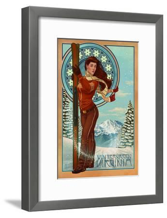Wintergreen, Virginia - Art Nouveau Skier-Lantern Press-Framed Art Print