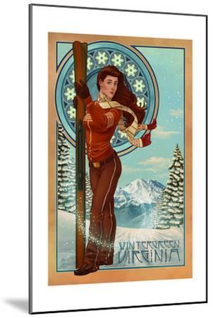 Wintergreen, Virginia - Art Nouveau Skier-Lantern Press-Mounted Art Print