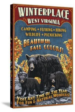 Winterplace, West Virginia - Black Bear Vintage Sign-Lantern Press-Stretched Canvas Print