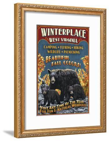 Winterplace, West Virginia - Black Bear Vintage Sign-Lantern Press-Framed Art Print
