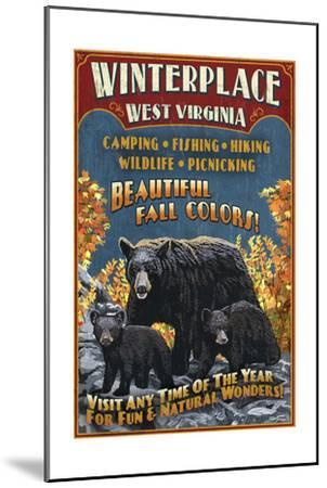 Winterplace, West Virginia - Black Bear Vintage Sign-Lantern Press-Mounted Art Print