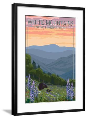 New Hampshire - Bears and Spring Flowers-Lantern Press-Framed Art Print