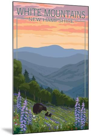 New Hampshire - Bears and Spring Flowers-Lantern Press-Mounted Art Print
