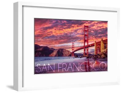 San Francisco, California - Golden Gate Bridge and Sunset-Lantern Press-Framed Art Print