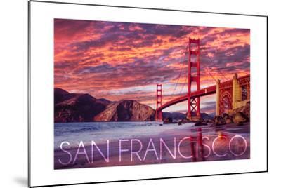 San Francisco, California - Golden Gate Bridge and Sunset-Lantern Press-Mounted Art Print