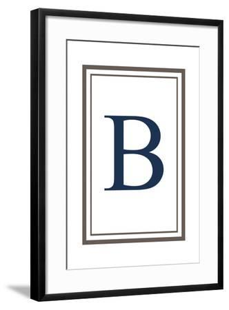 Monogram - Estate - Gray and Blue - B-Lantern Press-Framed Art Print