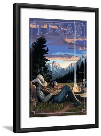 Texas - Cowboy Camping Night Scene-Lantern Press-Framed Art Print