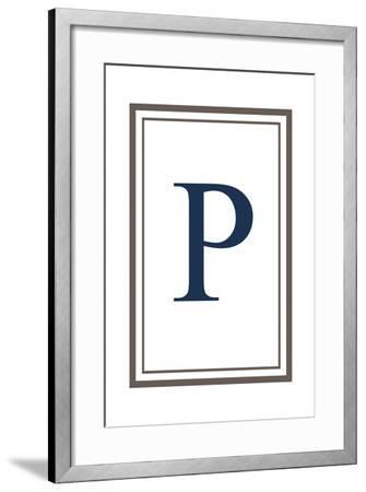 Monogram - Estate - Gray and Blue - P-Lantern Press-Framed Art Print