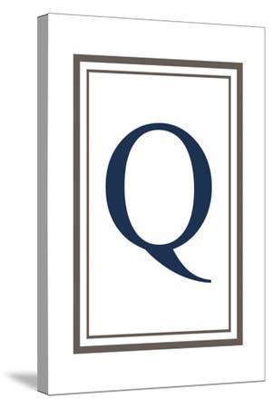 Monogram - Estate - Gray and Blue - Q-Lantern Press-Stretched Canvas Print