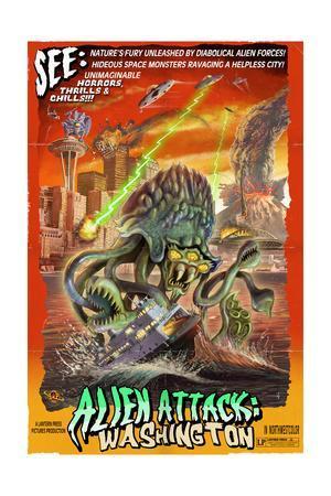 Washington - Alien Attack!-Lantern Press-Framed Art Print