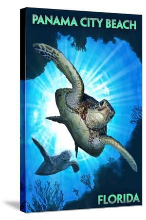 Panama City Beach, Florida - Sea Turtles Diving-Lantern Press-Stretched Canvas Print