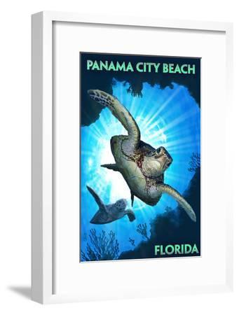 Panama City Beach, Florida - Sea Turtles Diving-Lantern Press-Framed Art Print