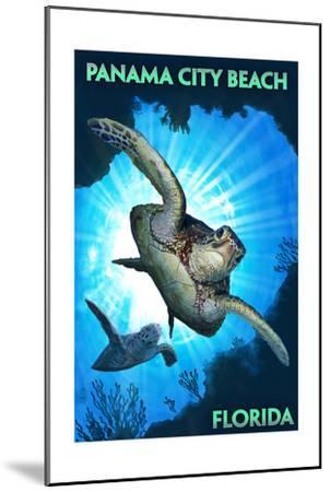 Panama City Beach, Florida - Sea Turtles Diving-Lantern Press-Mounted Art Print