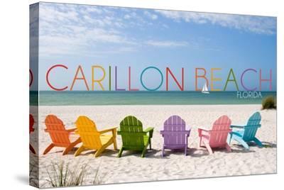 Carillon Beach, Florida - Colorful Beach Chairs-Lantern Press-Stretched Canvas Print